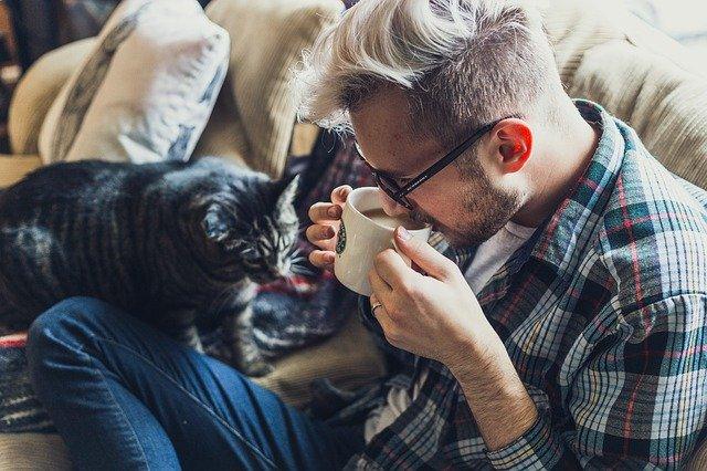 muž kočka na pohovce
